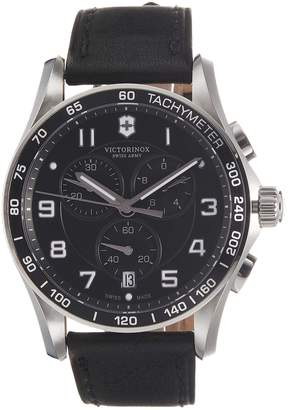 Victorinox Men's Chrono Classic XLS Leather & Stainless Steel Watch, 45mm