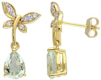 Laura Ashley Yellow Sterling Silver Amethyst & White Sapphire Dragonfly Drop Earrings $450 thestylecure.com