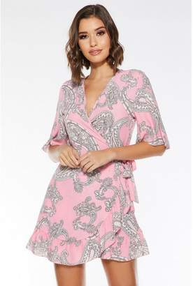 Quiz Pink and Cream Paisley Print Wrap Dress