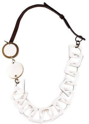Marni Leather, Resin & Horn Chain-Link Necklace