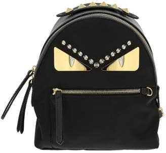 Fendi Mini Bag Monster Eyes Nylon And Leather Backpack With Bag Bugs Eyes Metallic Patching