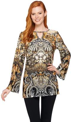 Women With Control Attitudes by Renee Printed Jersey Knit Keyhole Tunic