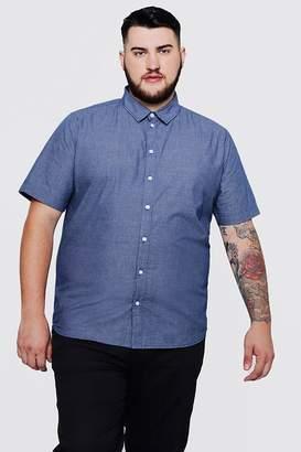boohoo Big And Tall Short Sleeve Mini Check Shirt