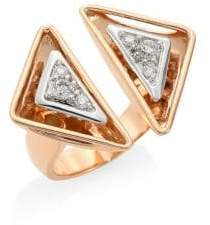 Pleve Aura 18K Rose Gold& Diamond Triangle Cocktail Ring