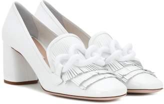 Embellished leather loafer pumps