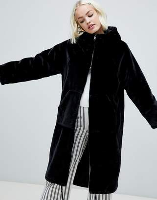 Monki faux fur zip hooded coat in black