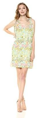 Rachel Roy Women's Tie Sleeve Printed Crepe Mini Dress