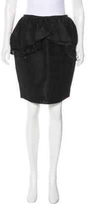 Jason Wu Feather-Trimmed Knee-Length Skirt