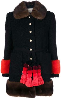 Gucci astrakhan contrast trim coat