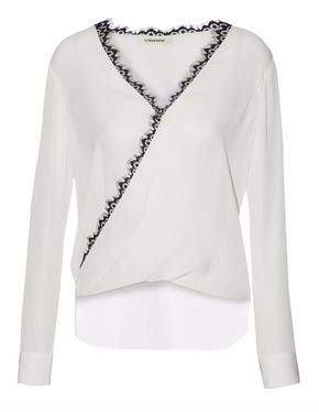 L'Agence Rosario Lace-Trimmed Silk Crepe De Chine Blouse