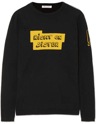 Bella Freud Right On Sister Intarsia Cotton And Cashmere-blend Sweater - Black