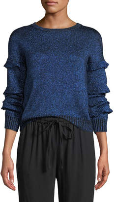 RED Valentino Crewneck Ruffle Trim Long-Sleeve Metallic Knit Sweater