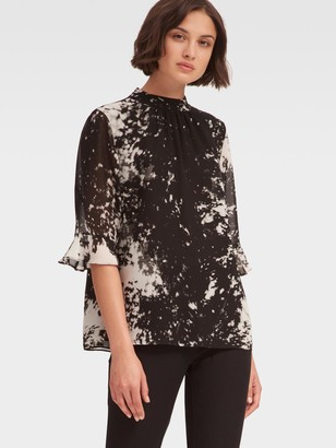 DKNY Ruffle-Sleeve Mock Neck Top
