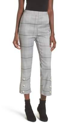 J.o.a. Faux Pearl Button Cropped Plaid Pants