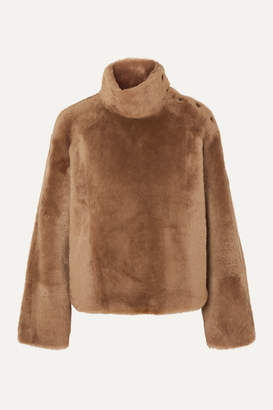 Yves Salomon Shearling Turtleneck Sweater - Camel