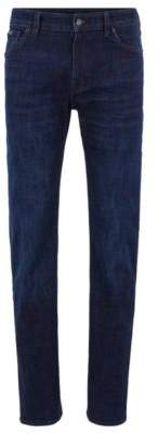 BOSS Regular-fit jeans in dark-blue stretch denim