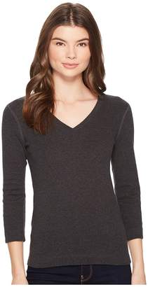 Three Dots 3/4 Sleeve Deep V-Neck Women's Long Sleeve Pullover