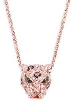 Effy 14K Rose Gold, Diamond & Emerald Panther Pendant Necklace