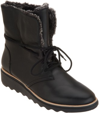 Clarks Collection Leather Lace-Up Winter Boots - Sharon Pearl