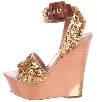Louis Vuitton Sequined Platform Wedges