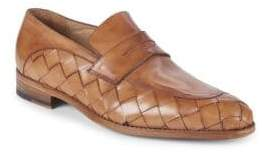Paul Stuart Woven Leather Penny Loafers