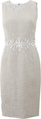 Oscar de la Renta Linen Embroidered Dress