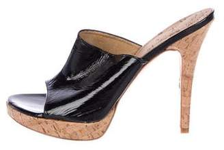 Stuart Weitzman Open-Toe Platform Cork Heels