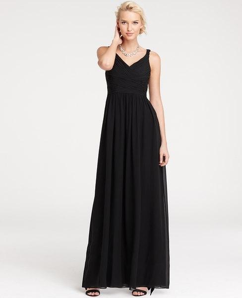 Ann Taylor Silk Georgette V-Neck Gown