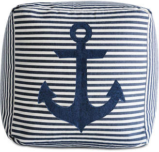3r Studio Navy Stripe Square Pouf Pillow with Embroidered Anchor