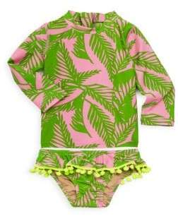 Baby Girl's Palm Two-Piece Rash Guard Set