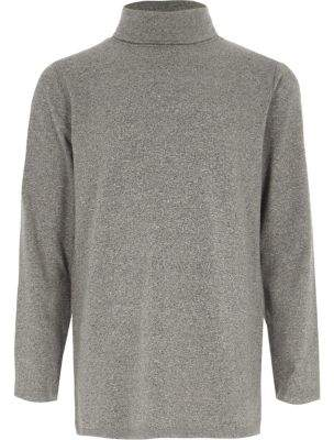 River Island Boys grey roll neck long sleeve top