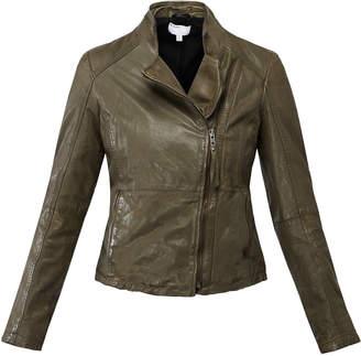 Muu Baa Muubaa Olive Green 'Kendyll' Leather Biker Jacket