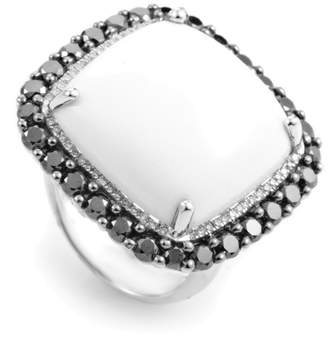 Black Diamond French Collection 18K White Gold White Agate & Ring