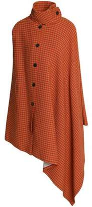 Sonia Rykiel Asymmetric Checked Wool-Blend Cape