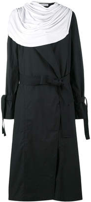 detachable draped collar trench coat
