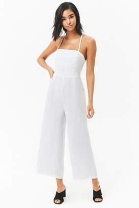 Forever 21 Lace-Up Linen Jumpsuit