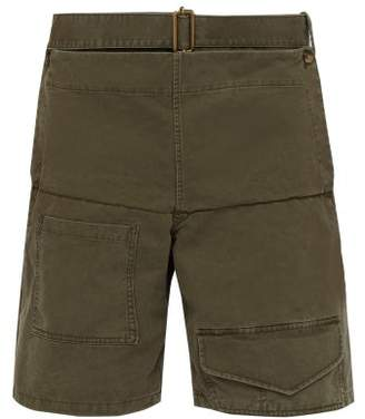 J.W.Anderson Panelled Cotton Twill Shorts - Mens - Khaki