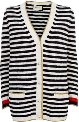 Gucci Striped Wool-Cashmere Cardigan