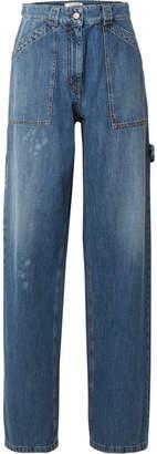 Valentino Distressed High-rise Wide-leg Jeans - Mid denim