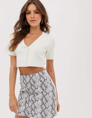 Fashion Union cropped short sleeved cardigan two-piece