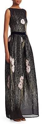 Talbot Runhof Women's Floral Metallic Pocket Gown