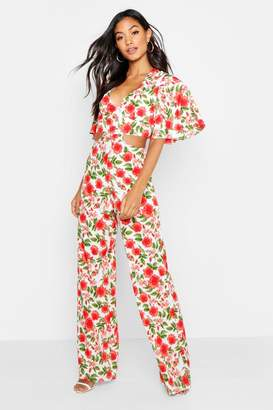 boohoo Floral Lace Up Wide Leg Jumpsuit