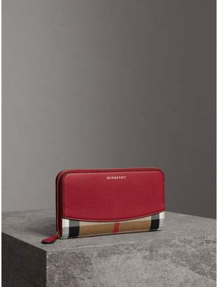 Burberry House Check and Leather Ziparound Wallet, Red