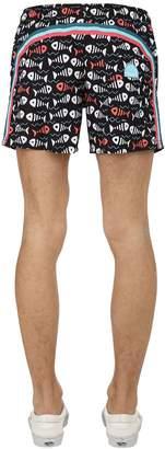 """Sundek 14"""" Fish Print Nylon Swim Shorts"""