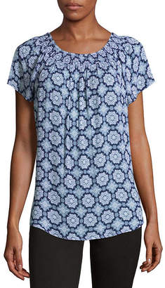 Liz Claiborne Short Sleeve Smock Neck Top - Tall