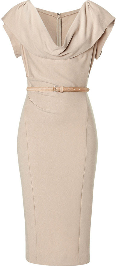 Donna Karan Camel Cap Sleeve Draped Dress with Belt