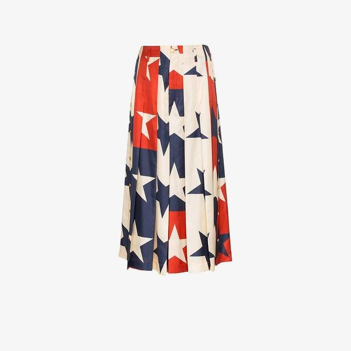 Star pattern silk pleated pant