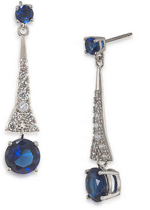 Carolee The Carly Royal Blue Drop Pierced Earrings Silver Tone Crystal Drop Earring