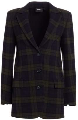 Akris Datson Wool Flannel Plaid Jacket