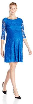 Three Seasons Maternity Women's Maternity 3/4 Sleeve Lace Skater Dress